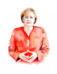 Angela Merkel (Watercolour on paper)